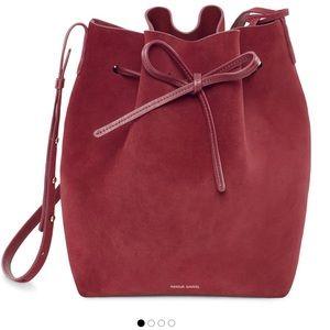 NWT Mansur Gavriel Burgundy Suede Bucket Bag